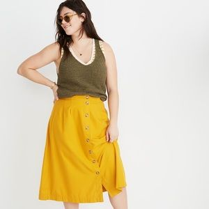 MADEWELL | Mustard Patio Button Front Midi Skirt